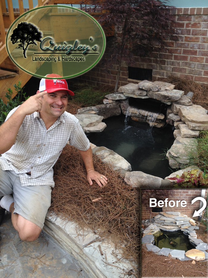 Image of Dalton Quigley sitting near a renovated pond / waterfallNashville-Pond-Waterfall