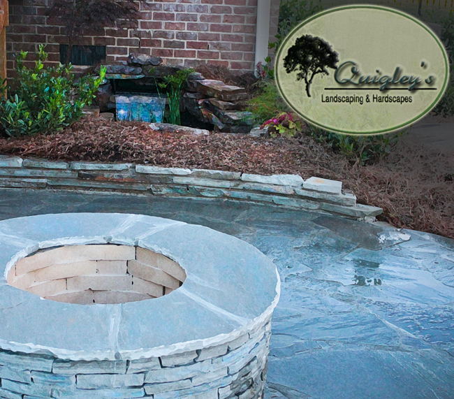 Pond and Waterfall combination with fire pit on a patio in Nashville Brentwood TN Area Nashville-Waterfall-fire-pit-pond